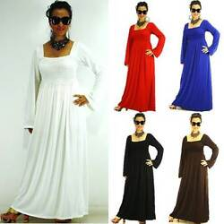 NEW S M L Casual Solid Long Sleeve Polyester Spandex Siam Trendy Maxi Full Dress $33.98