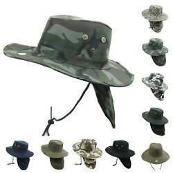 Bucket Cap Fishing Hiking Army Military Neck Cover Sun Flap Hunting Beach Hat $10.99