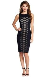 BCBGMAXAZRIA leona Lace Panel Stretch Sheath Black Cocktail Party Dress
