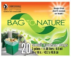 Indaco Bag To Nature 40 Count 3 Gallon 17quot; x 16quot; Compost Small Kitchen Bag $22.99