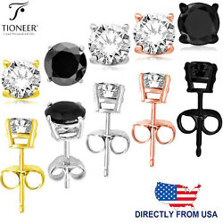 Sterling Silver 925 Rose Gold Gold Black or Silver Round Cut CZ Stud Earrings