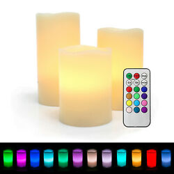 Set of 3 Color Changing Flameless LED Candles with Remote Control Timer 4quot; 5quot; 6quot; $19.95