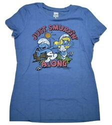 Junk Food Brand Womens Just Smurfin#x27; Along Smurfs Smurfette Shirt New M $7.99