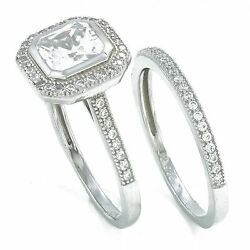 .925 genuine sterling silver cushion cut simulated diamond wedding ring set
