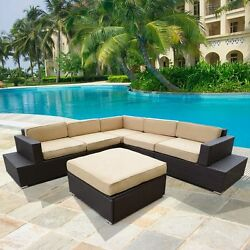 6pcs Outdoor Patio PE Rattan Cushioned Sofa Set Wicker Sectional Furniture Beige
