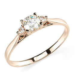 Solid 14K Solid Rose Gold Three Stone Engagement Promise Ring