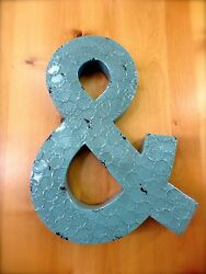 INDUSTRIAL BLUE METAL WALL AMPERSAND LETTER quot;amp;quot; 20quot; TALL rustic vintage decor $36.99