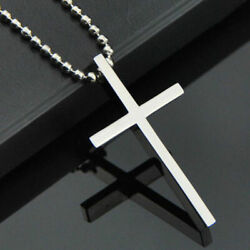 Simple Stainless Steel Silver Tone Cross Pendant Chain Necklace for Men Women $7.99