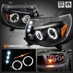 For 2005-2011 Toyota Tacoma LED Halo Black Projector Headlights Lamps Left+Right $132.38
