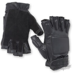 BLACK LEATHER PADDED TACTICAL FINGERLESS MILITARY GLOVES KNUCKLE ARMY SPEC OPS GBP 10.99