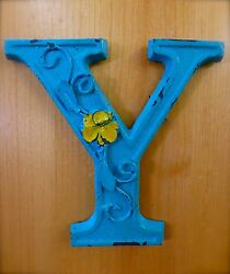 BLUE CAST IRON WALL LETTER quot;Yquot; 6.5quot; TALL rustic vintage decor sign child nursery $18.95