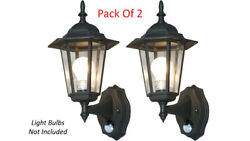 Pack Of 2 Elegant Outdoor Wall Light 6 Panel Glass Style With IR Motion Sensor