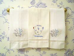 Palm Beach House Hand Towels - Pique Linen Embroidered Fish & Coral $48.00