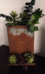 Primitive Wall Hanging Antique Chicken Feeder With Plants $53.00