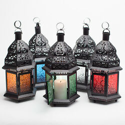 Richland Hanging Lantern Moroccan Metal with Embossed Glass Home amp; Event Decor $19.99