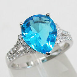 BRILLIANT 3 CT PEAR CUT BLUE TOPAZ  925 STERLING SILVER RING SIZE 5-10
