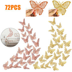 72PCS 3D Butterfly Wall Sticker Removable Colorful Art Decal Home Room DIY Decor $10.48