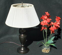 CLASSIC Metal Table Lamp Dark Brown BALUSTER STYLE **EXCELLENT**