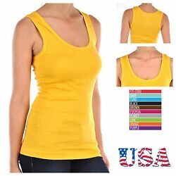 Women's 100% Cotton Ribbed  Basic Solid Hot tee Yoga  Sports Tank Top  A-Shirts $5.99