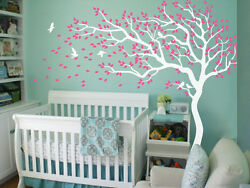 Nursery tree Wall Decals White Wall stickers Large tree Mural tattoo KR047 $79.00