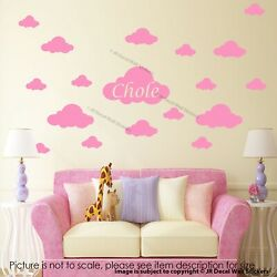30 x Cloud sticker for wall Girls Personalised name sticker Nursery stickers GBP 9.99