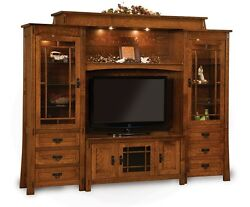 Amish Modesto TV Entertainment Center Solid Wood Wall Unit Cabinet Storage
