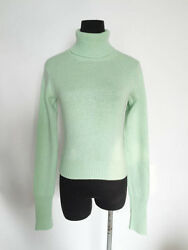 CHANEL VINTAGE 94A CLASSIC CASHMERE TURTLENECK SWEATER IN GREEN Sz 40