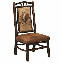 Set (4) Amish Hickory Log Bark Dining Side Chairs Upholstered Rustic Cabin Lodge