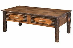 Amish Hickory Twig Log Coffee End Table Set Rustic Cabin Lodge