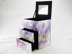 Floral Design Lavender Glass Jewelry Trinket Box