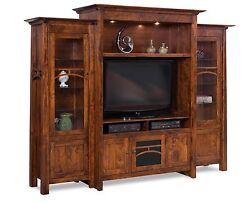 Amish Artesa TV Entertainment Center Solid Wood Wall Unit Display Cabinet