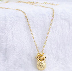 Fashion Women Ladies Jewelry Gold Plated Pineapple Pendant Long Chain Necklace