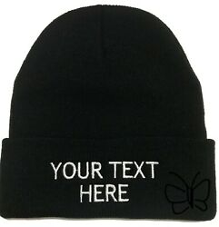 Custom Embroidery Beanie Personalized Embroidered Beanie Knit Cap w Cuff Black $12.99