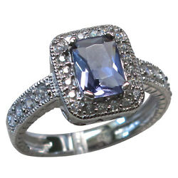 TRENDY 1.5 CT TANZANITE 925 STERLING SILVER RING SIZE 5-10