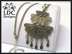 Large Pendant Bronze Gold Tiered Peacock Tail 30quot; Sweater Chain Necklace $13.95
