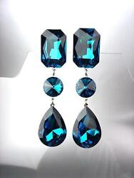 STUNNING Midnight Blue Crystals Chandelier CLIP Earrings PROM BRIDAL PAGEANT $23.99
