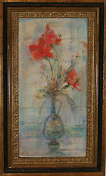 Edna Hibel (American 1917-2014) Original Oil on Silk Painting Signed 1970