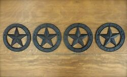 4 ANTIQUE-STYLE RUSTIC WESTERN CAST IRON METAL CIRCLE BARN STAR WALL DECOR 6.25