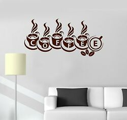 Vinyl Decal Coffee House Shop Cups Word Kitchen Decor Wall Stickers ig3461 $29.99