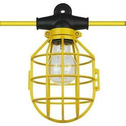 50 ft. Temporary Lighting String Work Light Commercial Heavy Duty w Bulb Cages