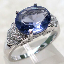 EXQUISITE 5 CT TANZANITE 925 STERLING SILVER MICRO PAVE RING SIZE 5-10