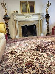 Hand knotted 100% pure Silk Persian Qum Luxury Rug Ivory Size 13' Ft By 21' Ft