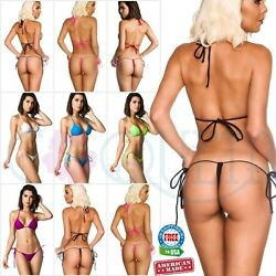 Women's Swimwear Sexy Brazilian Mini Micro Bikini G-string Thong Set Coqueta