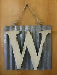 10quot; CORRUGATED INDUSTRIAL METAL SIGN LETTER quot;Wquot; WHITE vintage rustic wall decor $23.95