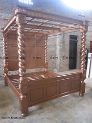 Super or King size TUDOR style BED MAHOGANY or OAK hardwood canopy four poster