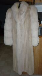 EVANS COLLECTION WHITE AND TAN FOX AND MINK FULL LENGTH COAT