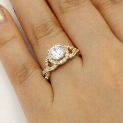 2.00 Ct 14K Yellow Gold Round Cross Over Engagement Wedding Propose Promise Ring