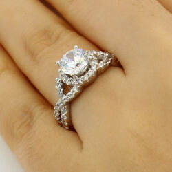2.00 Ct 14K White Gold Round Cross Over Engagement Wedding Propose Promise Ring