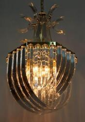 DRAMATIC STUNNING UNUSUAL IMPRESSIVE ABSTRACT RIBBON DESIGN LUCITE CHANDELIER $874.99