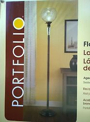 NIB Nice 72quot; H Bronze Finish FLOOR LAMP TORCHIERE with Swirled Clear Globe Glass $79.95